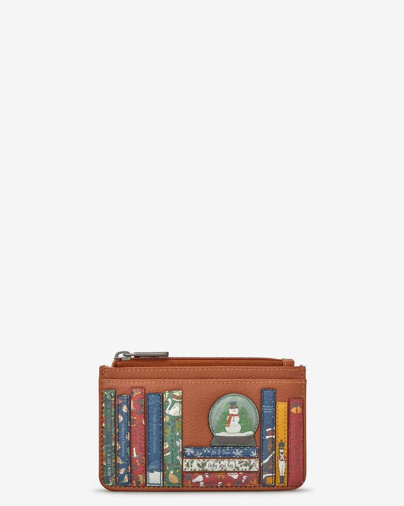 Christmas Bookworm Tan Leather Morton Card Holder - Yoshi