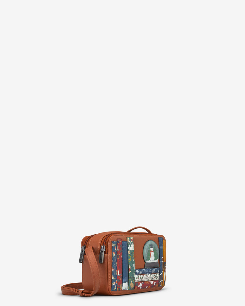 Christmas Bookworm Tan Leather Porter Cross Body Bag - Yoshi