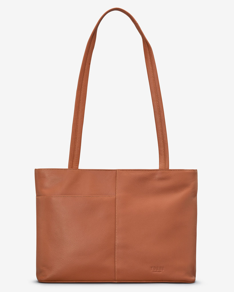 Christmas Bookworm Tan Leather Shoulder Bag - Yoshi