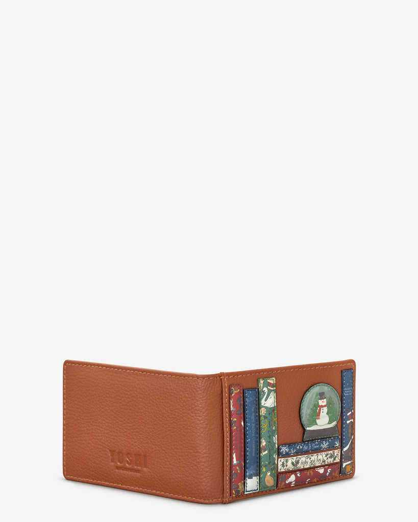 Christmas Bookworm Tan Leather Travel Pass Holder - Yoshi
