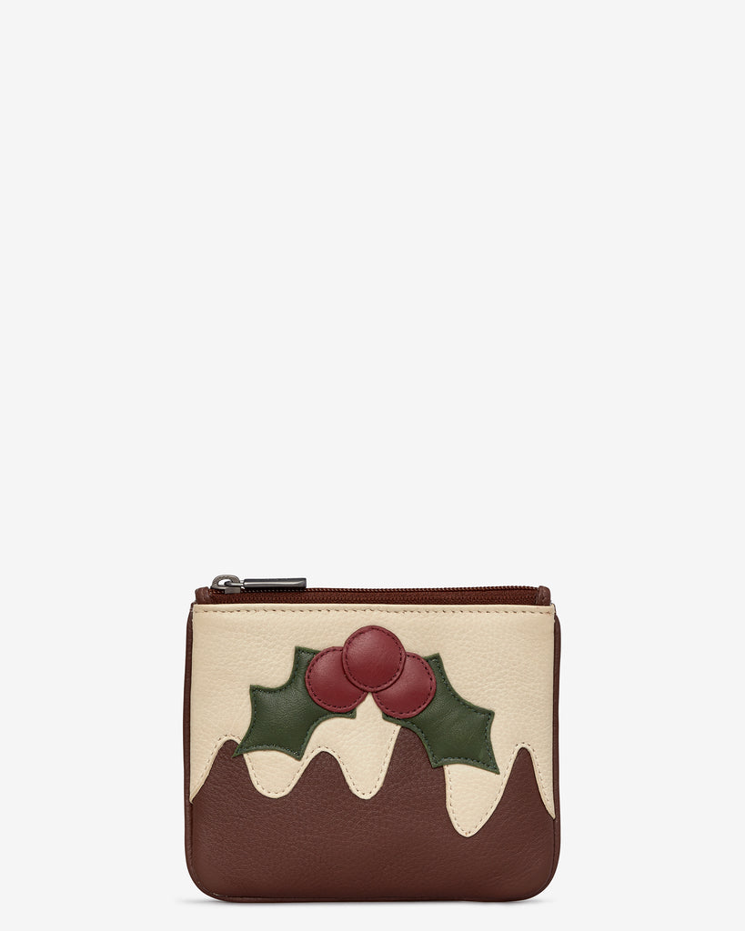 Christmas Pudding Brown Leather Zip Top Purse - Yoshi