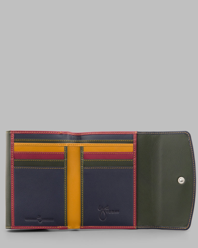 Classic Multi Double Flap Over Leather Purse - Navy - Y by Yoshi