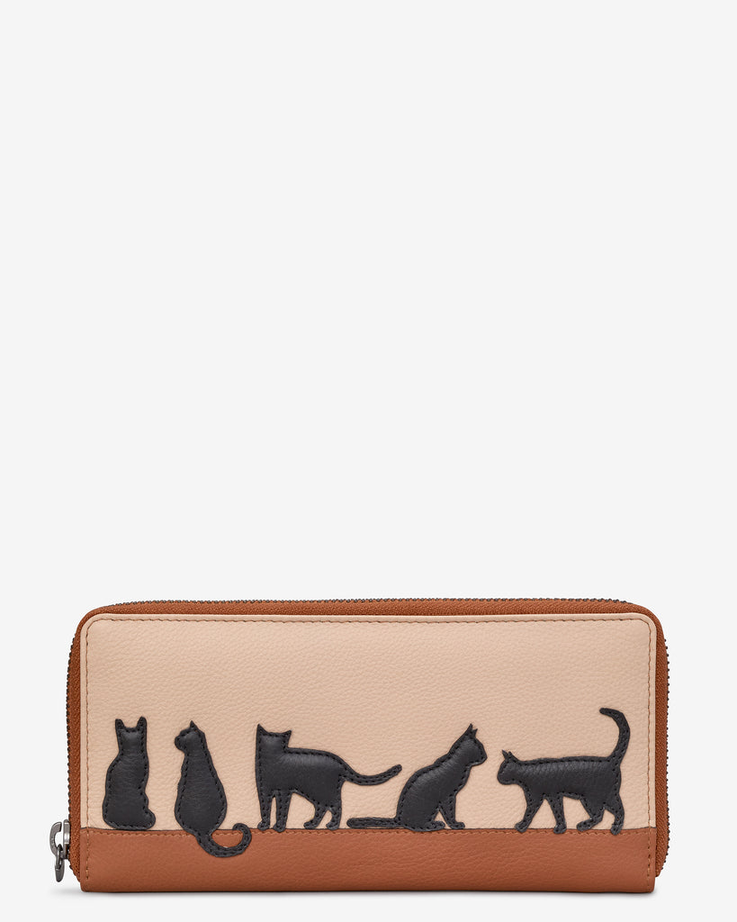 Clowder Of Cats Tan Leather Baxter Purse - Yoshi