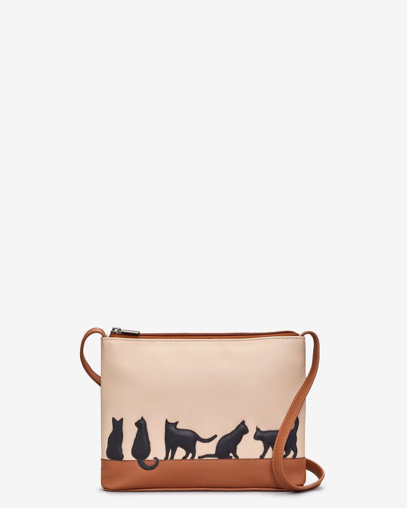 Clowder Of Cats Tan Leather Cross Body Bag - Tan - Yoshi
