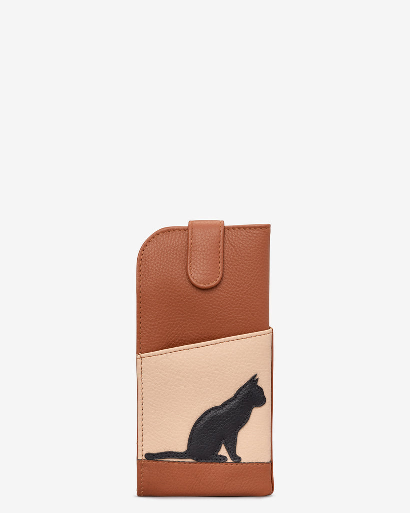 Clowder of Cats Tan Leather Chilton Glasses Case - Yoshi