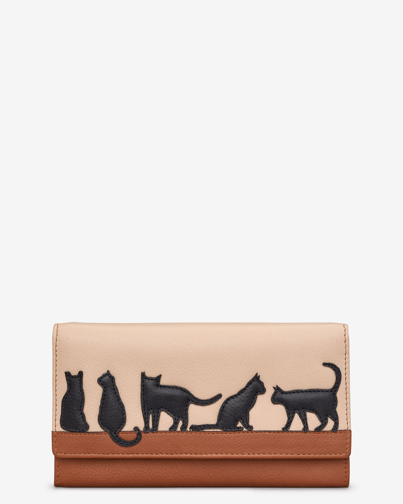 Clowder Of Cats Tan Leather Hudson Purse - Yoshi