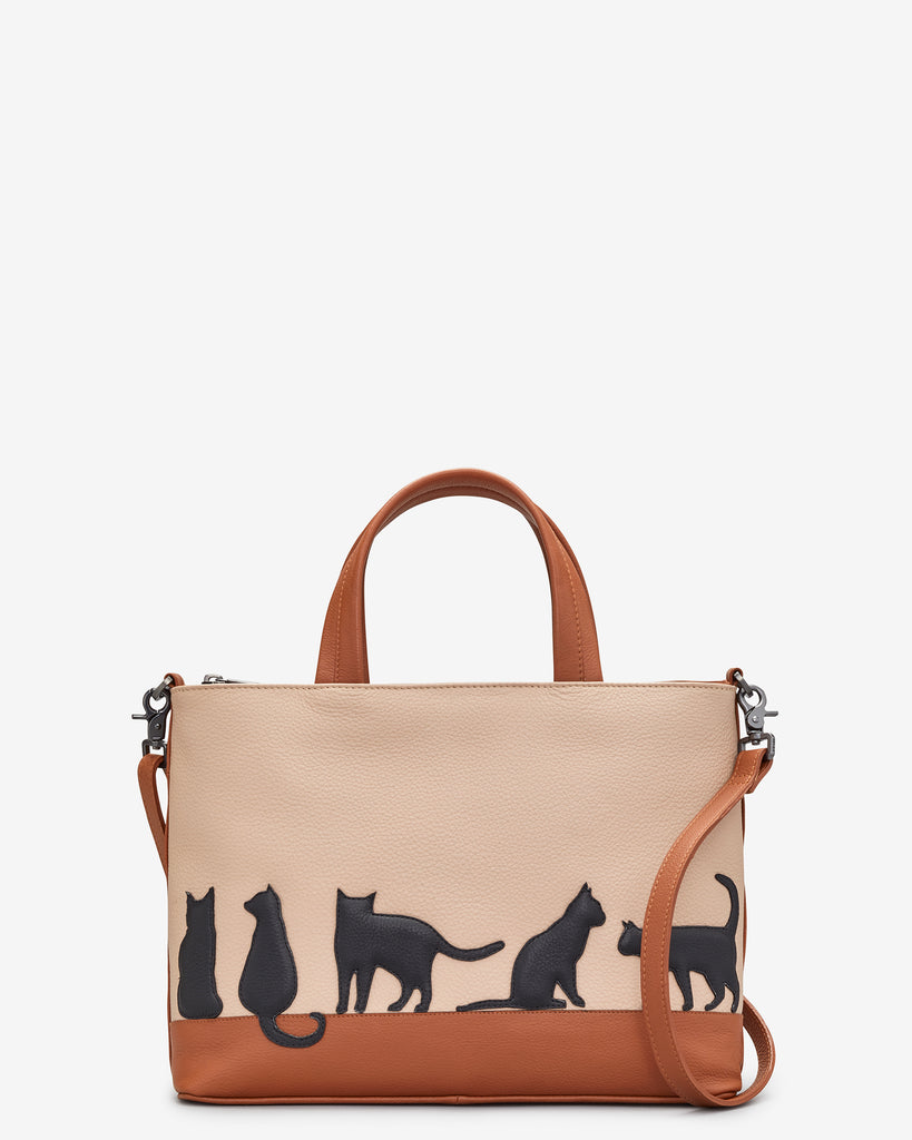Clowder Of Cats Tan Leather Multiway Grab Bag - Tan - Yoshi