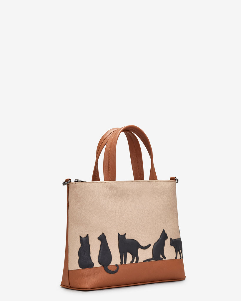 Clowder Of Cats Tan Leather Multiway Grab Bag -  - Yoshi