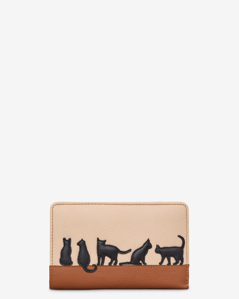 Clowder Of Cats Tan Leather Oxford Purse - Yoshi