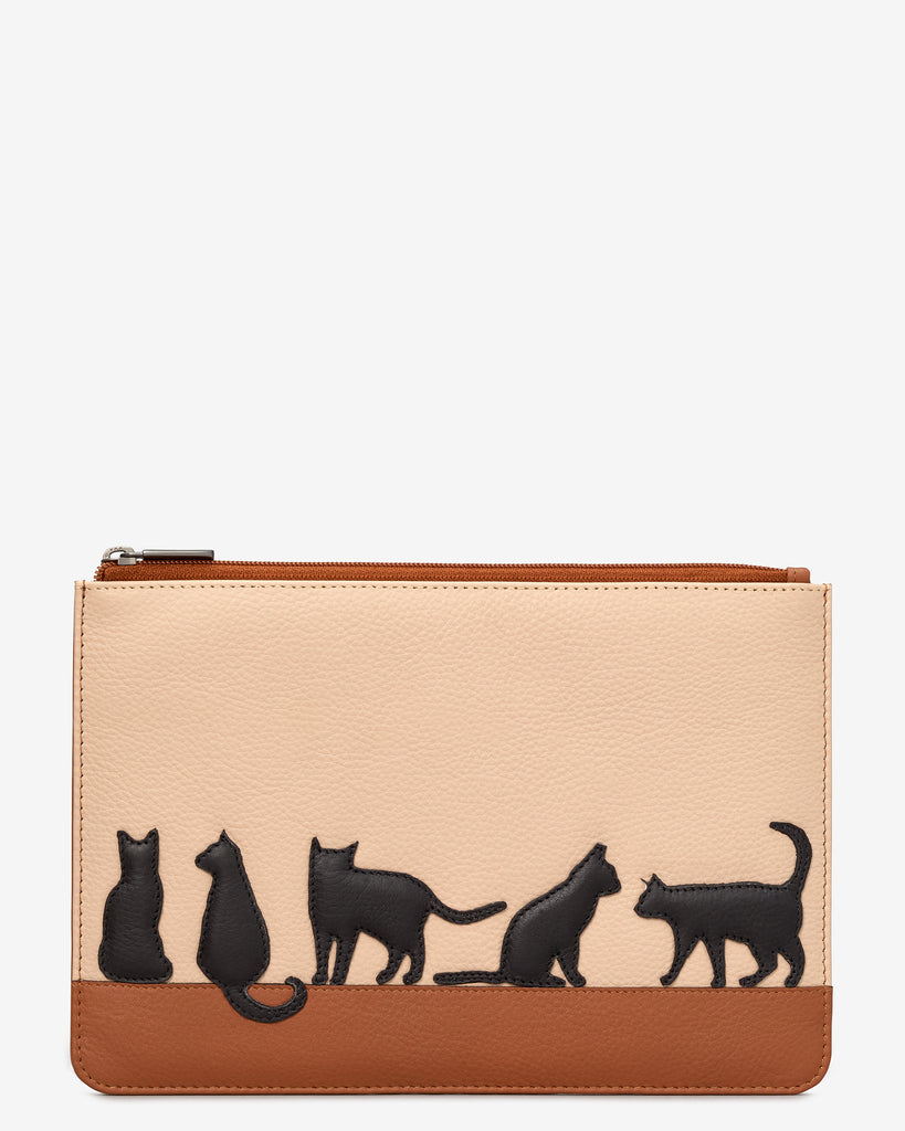 Clowder Of Cats Tan Leather Brooklyn Pouch - Yoshi