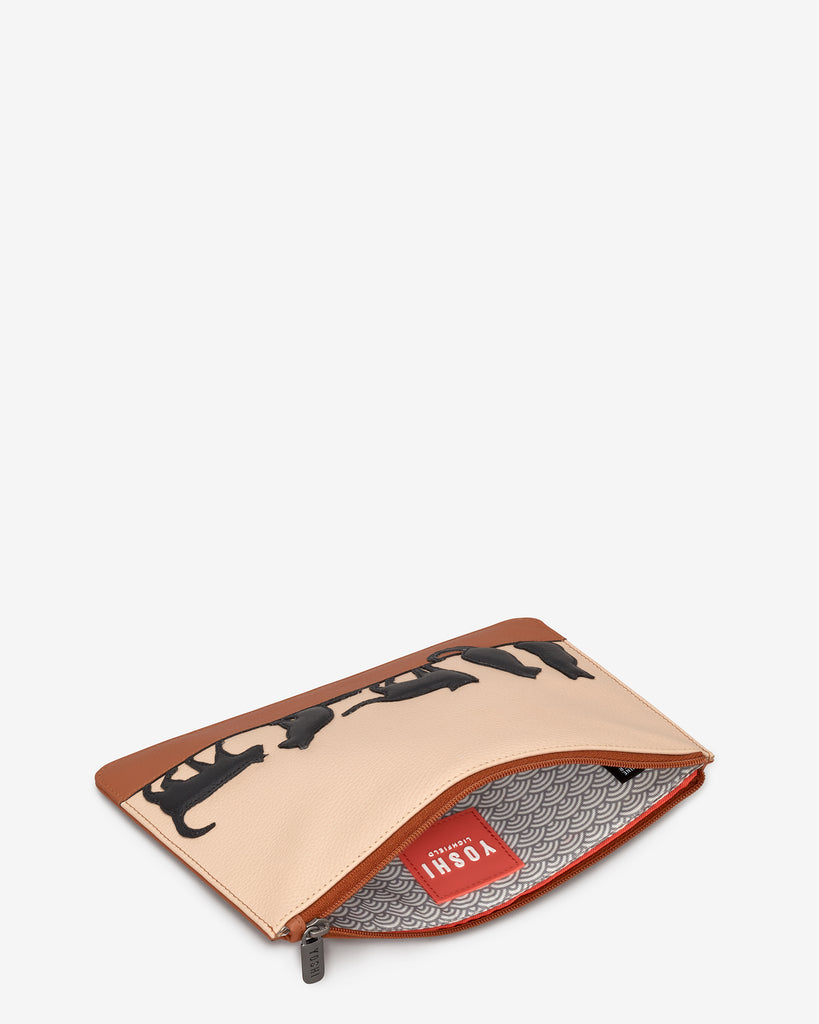 Clowder Of Cats Tan Leather Brooklyn Pouch -  - Yoshi