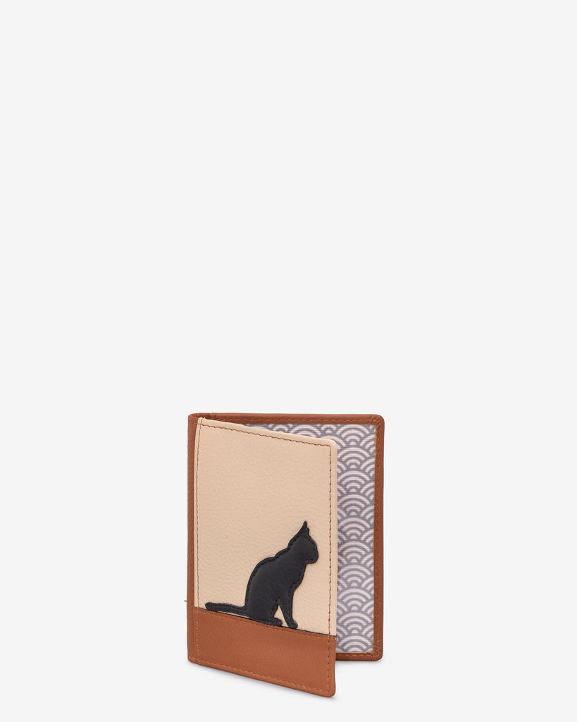 Clowder of Cats Tan Leather Travel Pass Holder - Yoshi