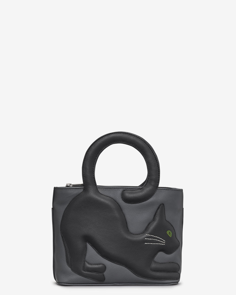 Cole the Cat Black Leather Grab Bag - Black - Yoshi