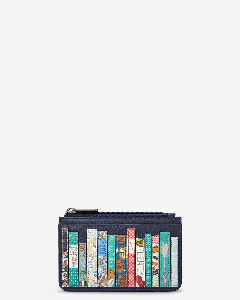 Bookworm Cookbook Navy Leather Morton Card Holder - Yoshi