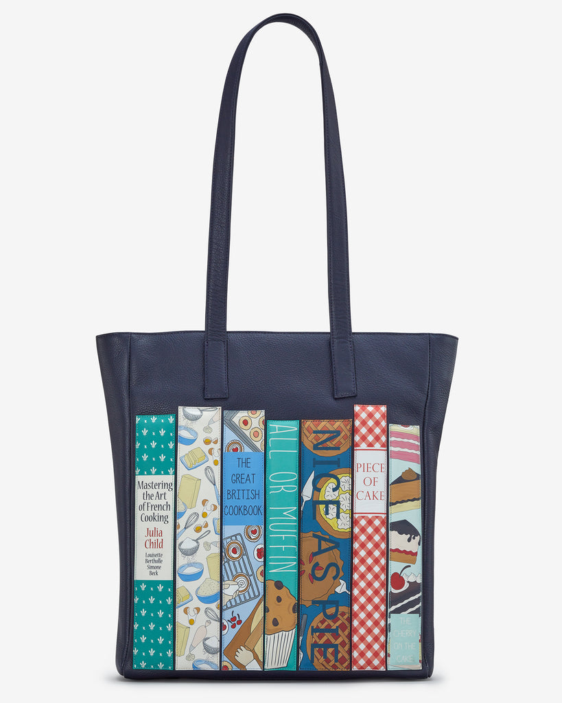 Bookworm Cookbook Navy Leather Shopper Bag - Yoshi