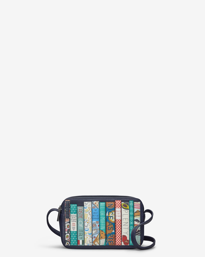 Bookworm Cookbook Navy Leather Porter Cross Body Bag - Yoshi
