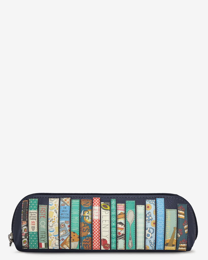Bookworm Cookbook Navy Leather Pencil Case - Yoshi