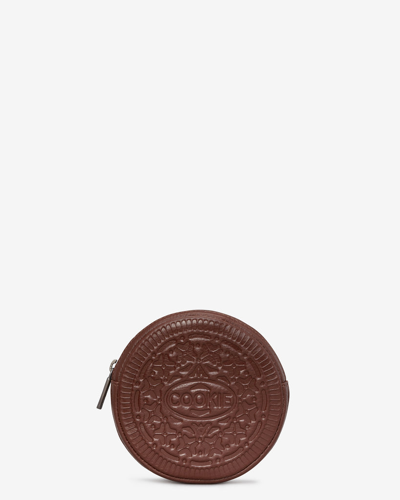 Cookie Biscuit Zip Round Leather Purse - Brown - Yoshi