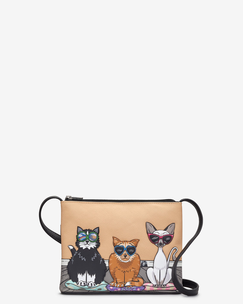 Cool For Cats Black Leather Cross Body Bag - Yoshi