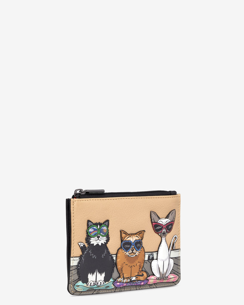Cool For Cats Black Leather Franklin Purse - Yoshi