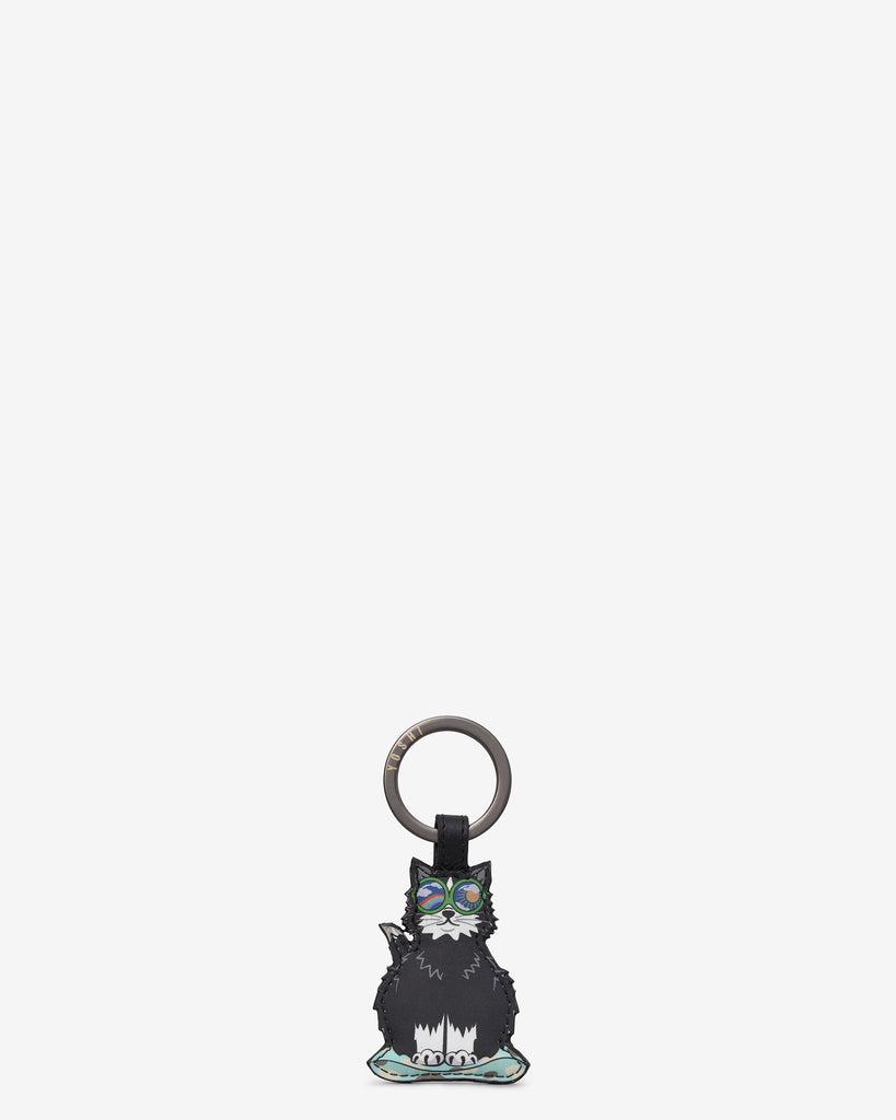 Cool For Cats Leather Black Cat Keyring - Black - Yoshi