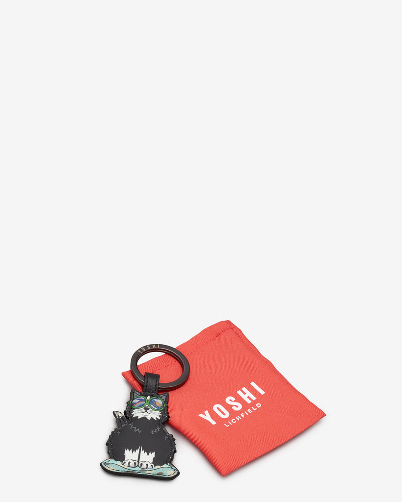 Cool For Cats Leather Black Cat Keyring - Yoshi