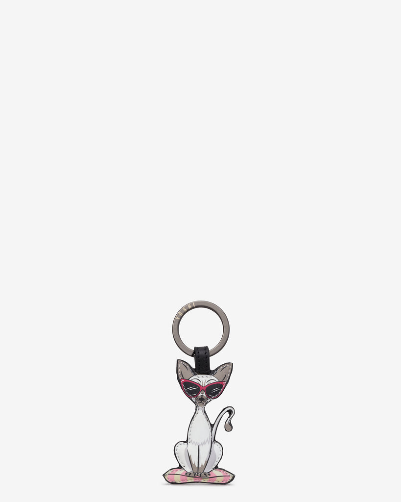 Cool For Cats Leather White Cat Keyring - Black - Yoshi