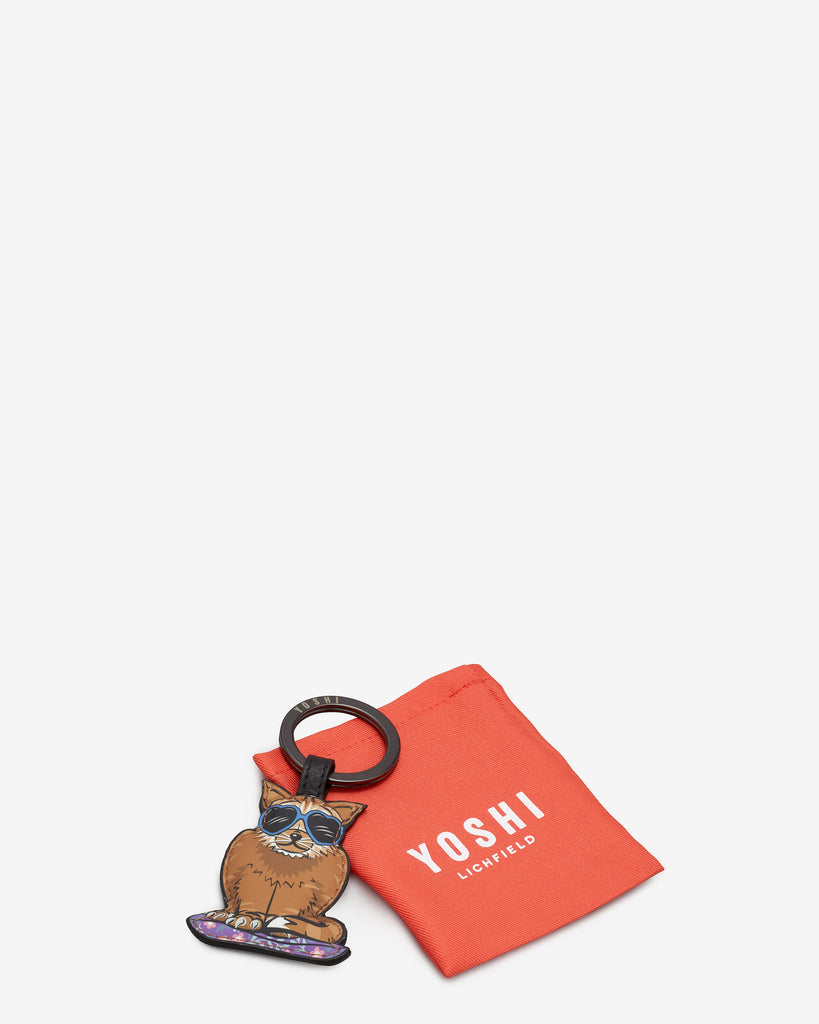 Cool For Cats Leather Ginger Cat Keyring - Yoshi