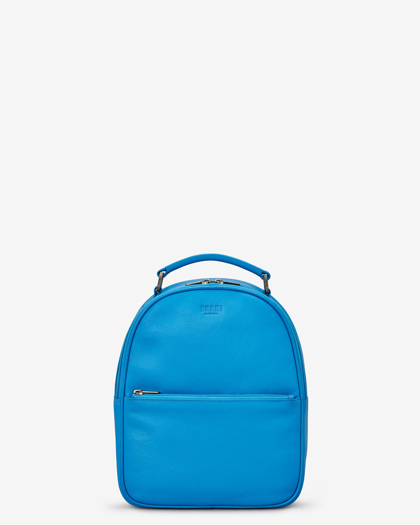 Cooper Cobalt Blue Leather Backpack Bag - Yoshi