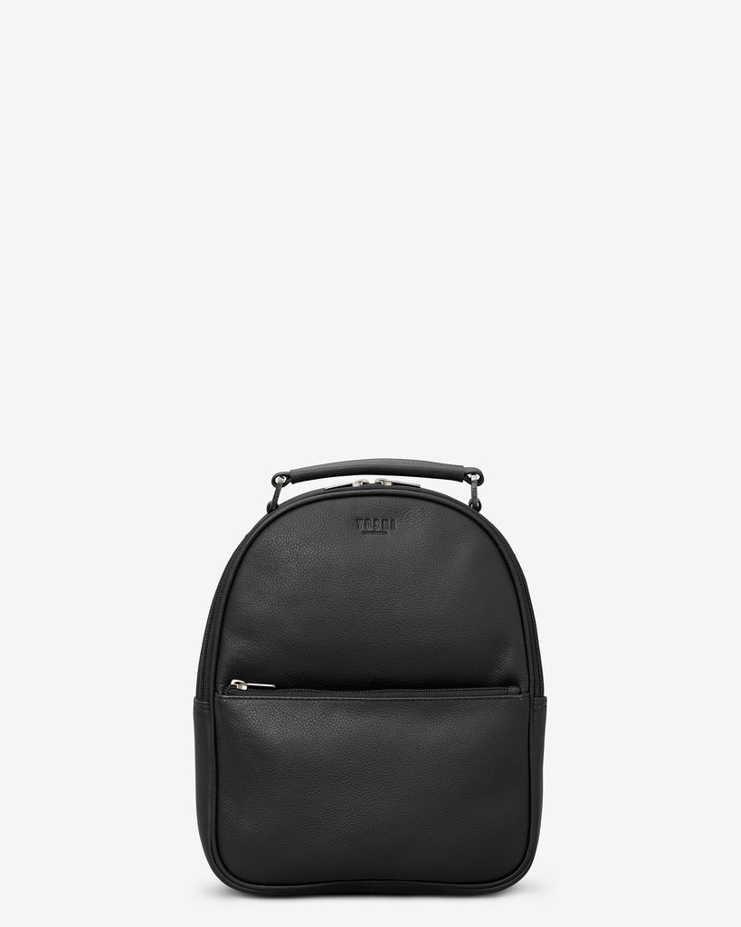 Cooper Black Leather Backpack - Black - Yoshi