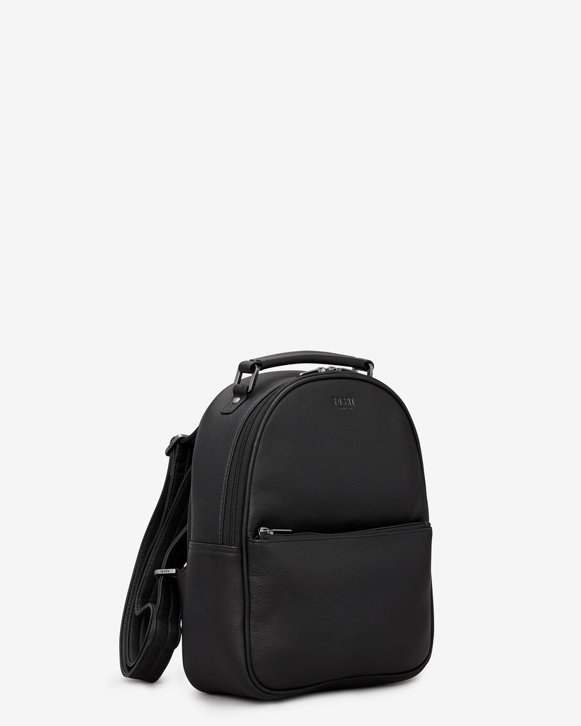 Cooper Black Leather Backpack - Yoshi