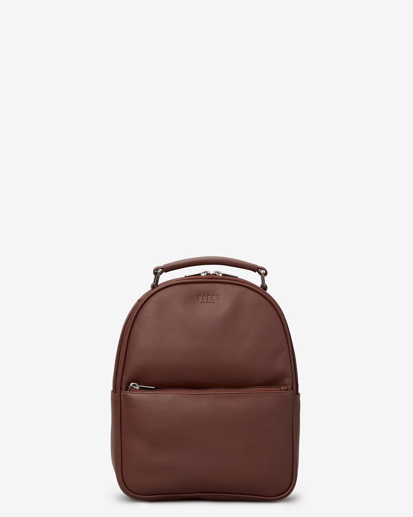Cooper Brown Leather Backpack - Brown - Yoshi