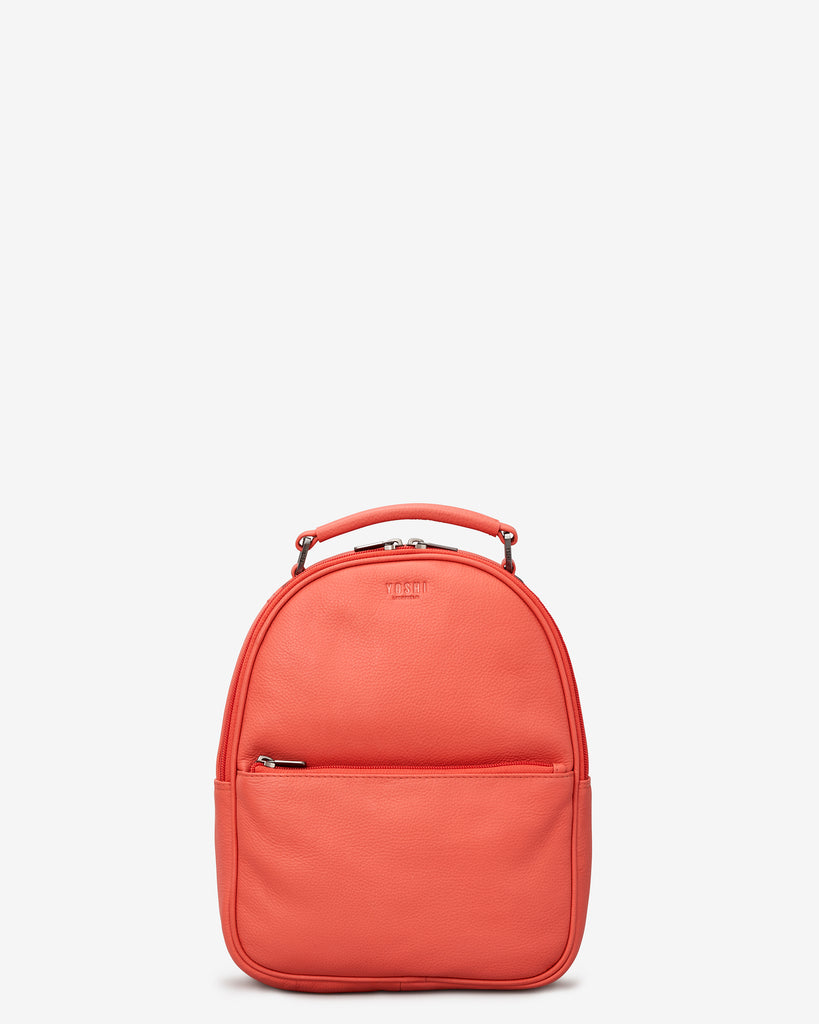 Cooper Coral Leather Backpack Bag - Coral - Yoshi