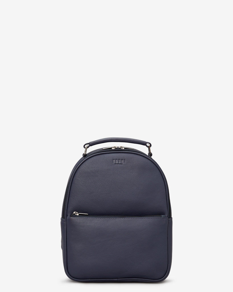 Cooper Navy Leather Backpack - Navy - Yoshi