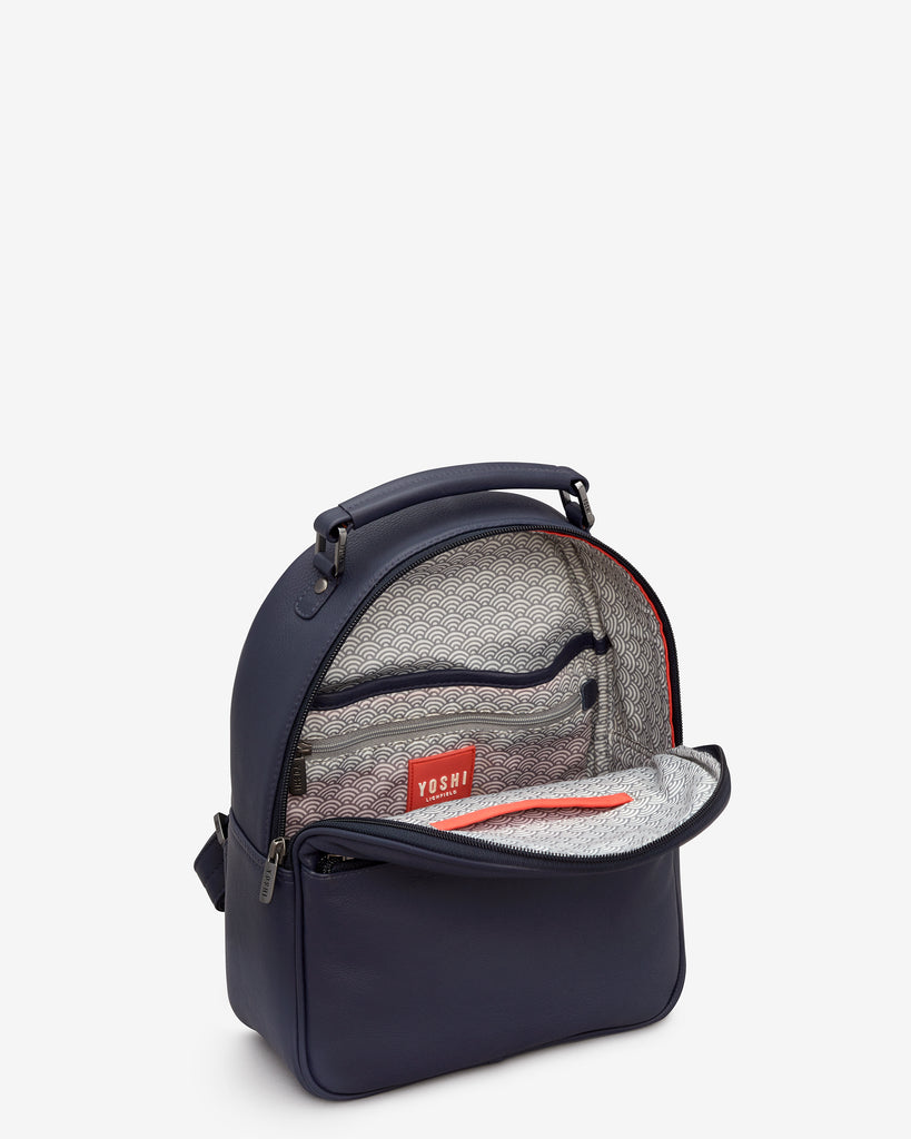 Cooper Navy Leather Backpack -  - Yoshi