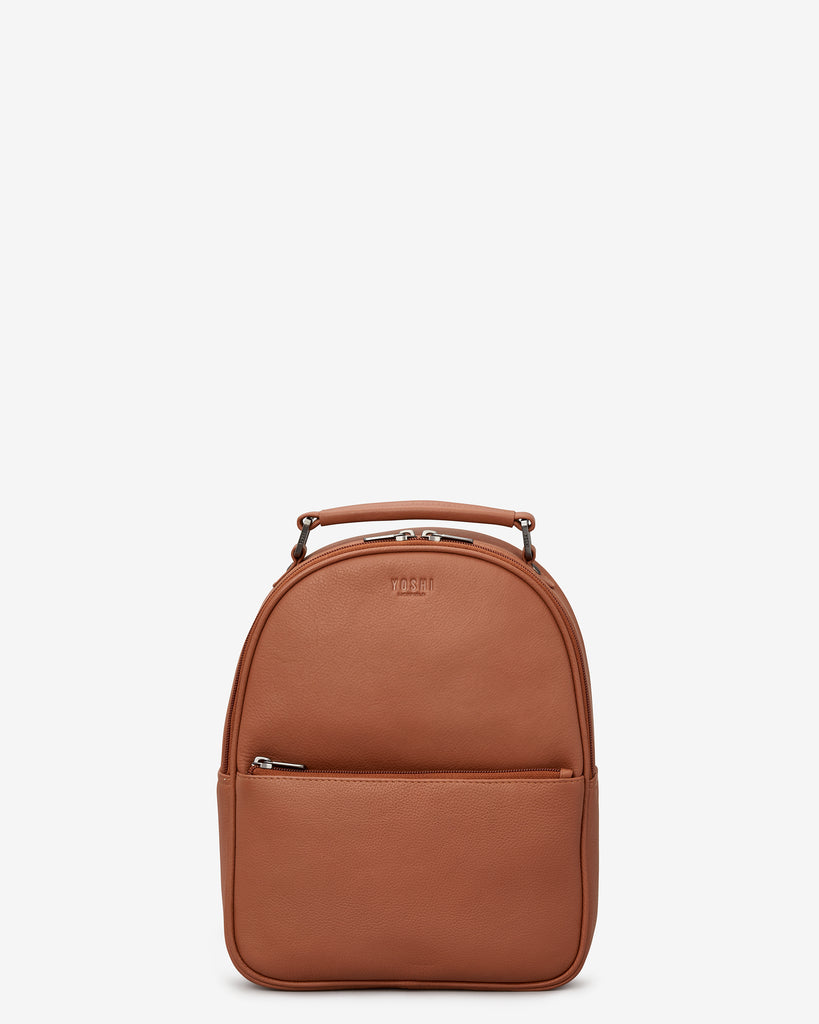 Cooper Tan Leather Backpack - Yoshi