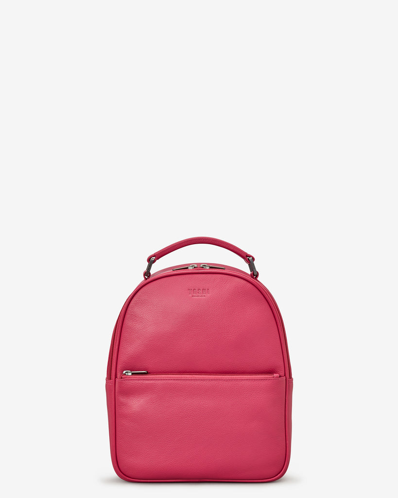 Cooper Raspberry Leather Backpack Bag - Yoshi