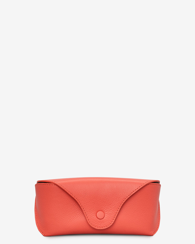 Coral Leather Atlantic Glasses Case - Coral - Yoshi