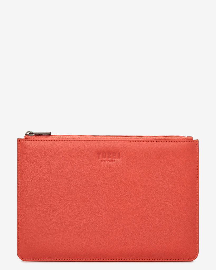 Coral Leather Brooklyn Pouch - Coral - Yoshi