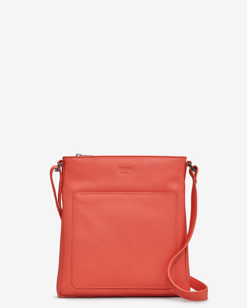 Bryant Coral Leather Cross Body Bag - Coral - Yoshi