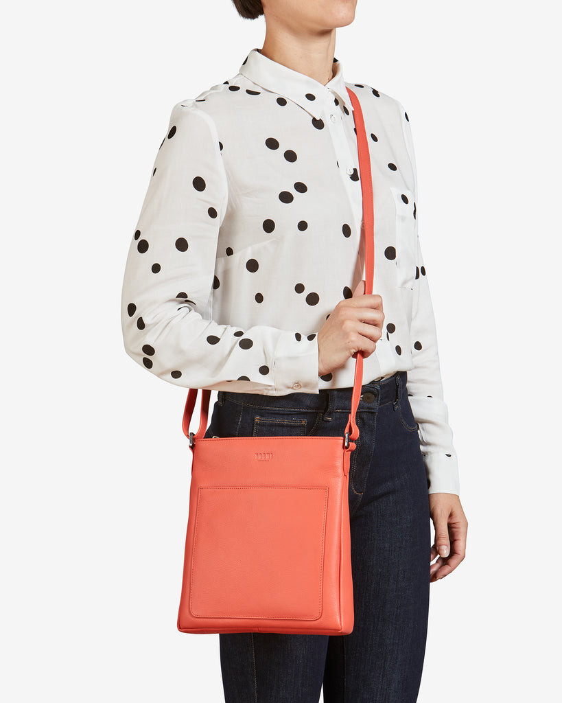 Bryant Coral Leather Cross Body Bag -  - Yoshi