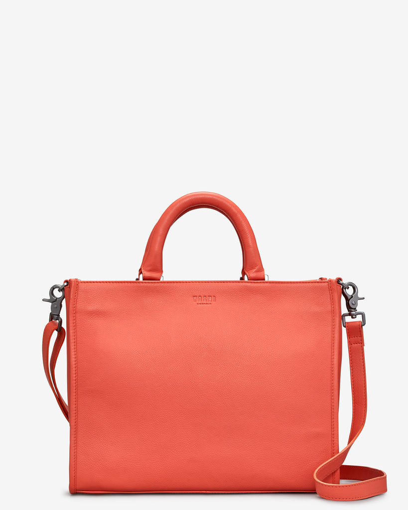 Harwood Coral Leather Tote Bag - Coral - Yoshi