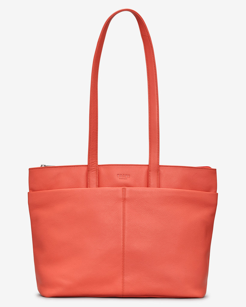 Gresley Coral Leather Shopper Bag - Coral - Yoshi