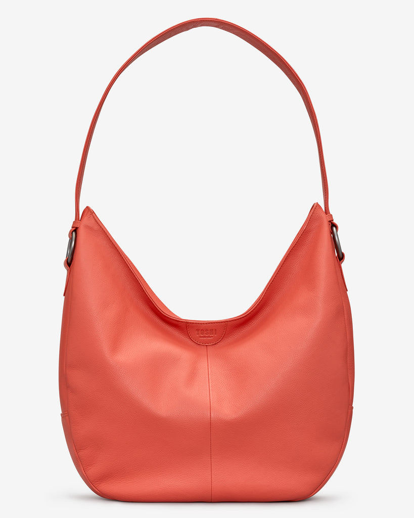Ludlow Coral Leather Shoulder Bag - Coral - Yoshi