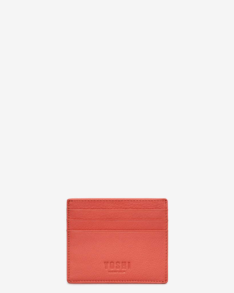 Coral Leather Wooster Card Holder - Coral - Yoshi