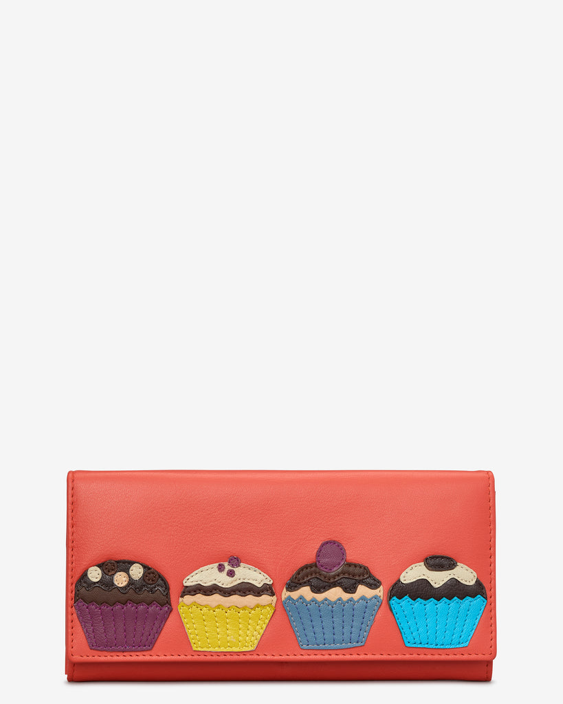 Cupcake Coral Leather Flap Over Purse - Coral - Yoshi