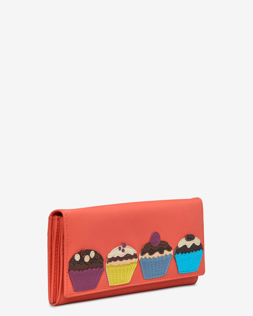 Cupcake Coral Leather Flap Over Purse -  - Yoshi
