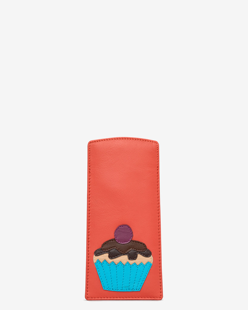 Cupcake Coral Leather Glasses Case - Coral - Yoshi
