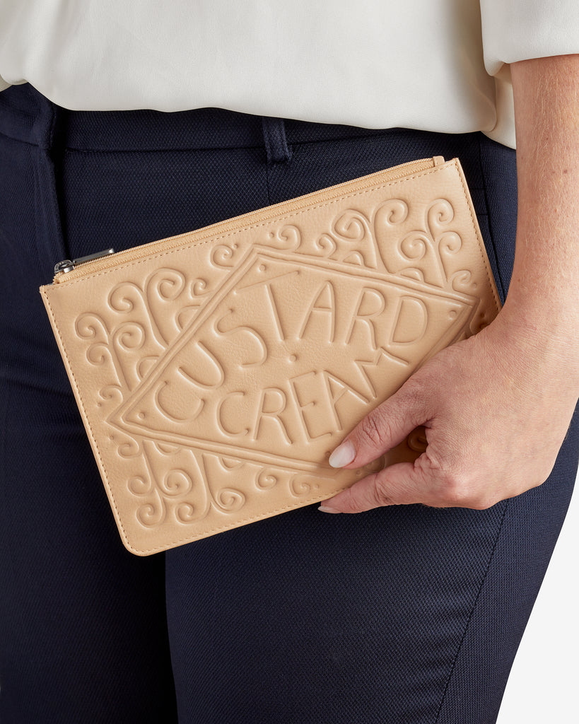 Custard Cream Leather Brooklyn Pouch - Yoshi