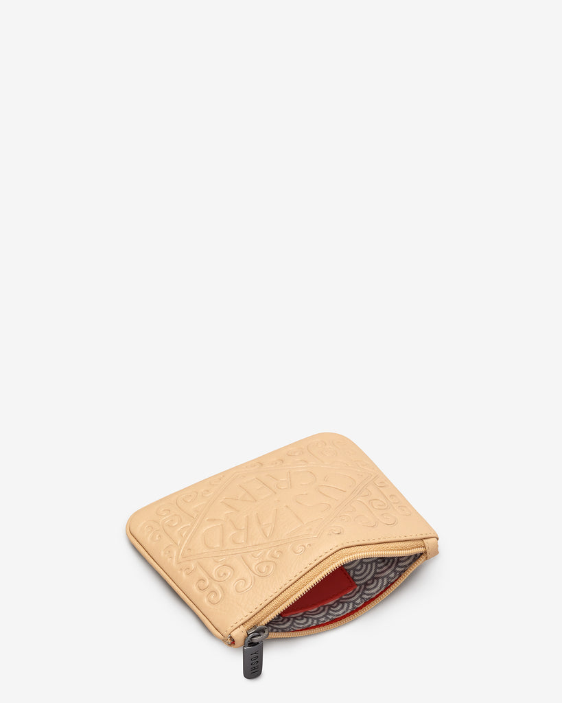 Custard Cream Leather Zip Top Purse - Yoshi